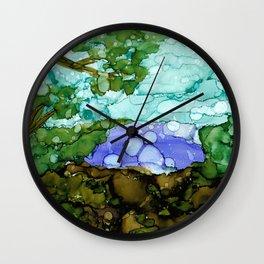 Alcohol ink landscape Wall Clock