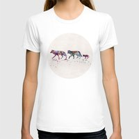 wolves T-shirts featuring Wolves by Watercolorist