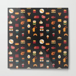 Food seamless pixel art pattern,fabric textures,isolated Fast food,seafood,meat,rolls and sushi. Metal Print