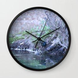 Black Bird At Water's Edge Wall Clock