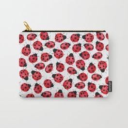Watercolor Lady Bugs - Red Black Watercolor Insects Carry-All Pouch