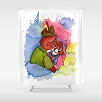 robin hood Shower Curtains featuring Robin Hood and Maid Marian by KitschyPopShop