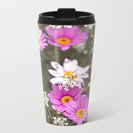 Pink Daisy Wildflower Summer Meadow Metal Travel Mug