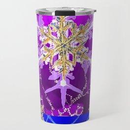 Contemporary Blue-Purple Winter Snowflakes Art Design Travel Mug