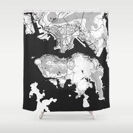 Hong Kong Map Gray Shower Curtain