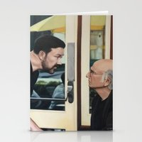larry david Stationery Cards featuring Ricky Gervais and Larry David Stare Down by Laura Baran