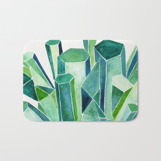 Emerald Watercolor Bath Mat