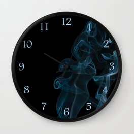 blue whirl curled and twisted smoke Wall Clock