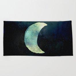 Iridescent Waning Crescent Moon Beach Towel