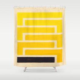 Black & Yellow Geometric Pattern Shower Curtain