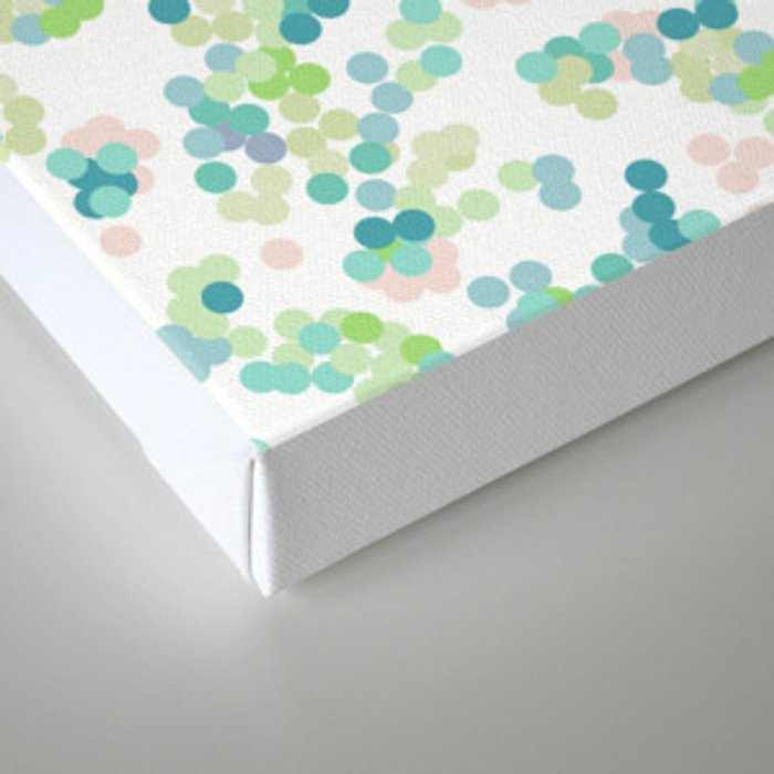 Blue green polka dots on a white background . Canvas Print