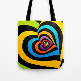 Valentine hearts twirling in rainbow colors Tote Bag