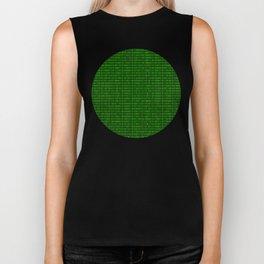 Binary numbers pattern in green Biker Tank