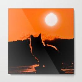Cat and Sunset Metal Print