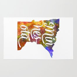 Minnesota US State in watercolor text cut out Rug