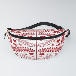 Red Scandinavian Folk Art Christmas Tree Fanny Pack