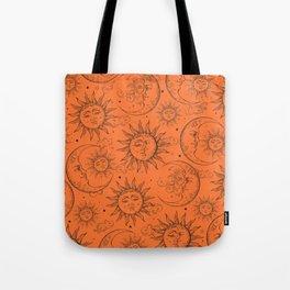 Orange Magic Celestial Sun Moon Stars Tote Bag