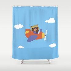 Bear in Airplane Shower Curtain