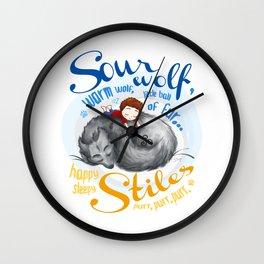 Sterek Sleepy Wolf & Stiles I Wall Clock