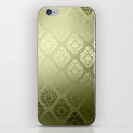 """Olive Damask Pattern"" iPhone Skin"