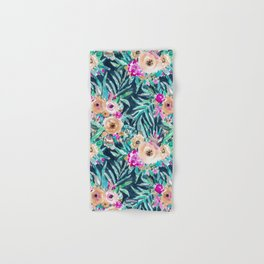 SO CASUAL Dark Tropical Palm Floral Hand & Bath Towel