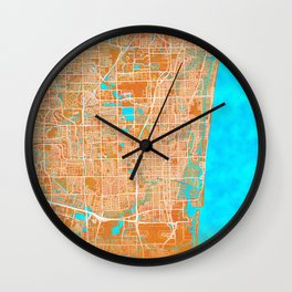 Fort Lauderdale, FL, USA, Gold, Blue, City, Map Wall Clock