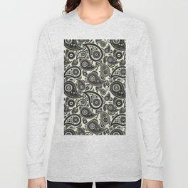 Beige Paisley Pattern Long Sleeve T-shirt