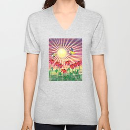 goldfinches sunshine flight Unisex V-Neck