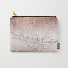 Modern faux rose gold glitter and foil ombre gradient on white marble color block Carry-All Pouch