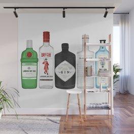 Gin Bottles Illustration Wall Mural
