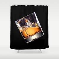whisky Shower Curtains featuring Whisky on the Rocks by FantasyArtDesigns