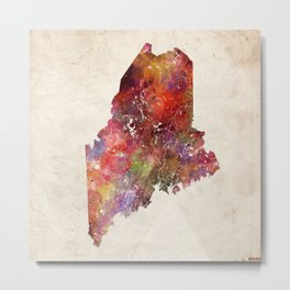 Maine map Metal Print