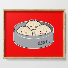 Pork Bun dim sum Chinese breakfast steamed bbq buns Serving Tray