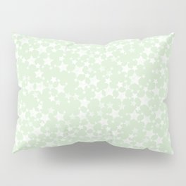 Magical Mint Green and White Stars Pattern Pillow Sham