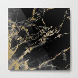 marble black gold Metal Print