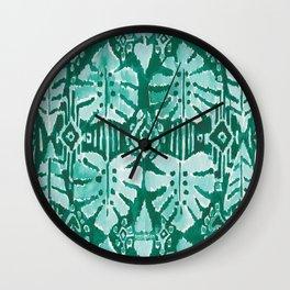 JUNGLE IKAT Green Tropical Monstera Wall Clock