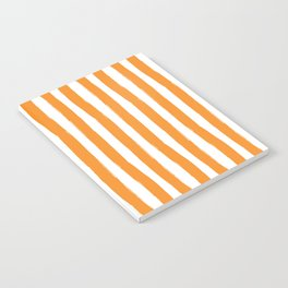 Orange and White Cabana Stripes Palm Beach Preppy Notebook