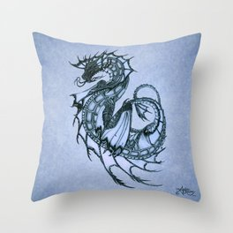"""Tsunami"" by Amber Marine ~ Sea Dragon (Ice Blue Version) ~ Graphite Illustration, (Copyright 2005) Throw Pillow"