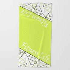 The fitness club . Sport . Lemon white creative sport pattern . Beach Towel