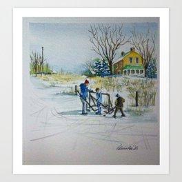 Hockey On The Pond Art Print