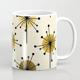 Atomic Era Sputnik Starburst Flowers Light Yellow Coffee Mug