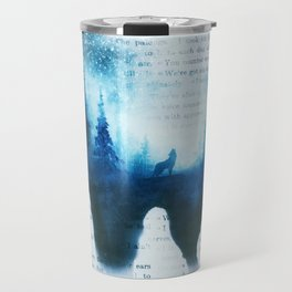 Wolf in the Forest | Double Exposure Wolf | Book Pages | Vintage Wolf Art Travel Mug
