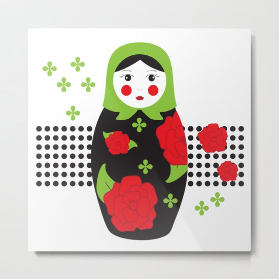 Pop-art Russian Doll Matryoshka Metal Print