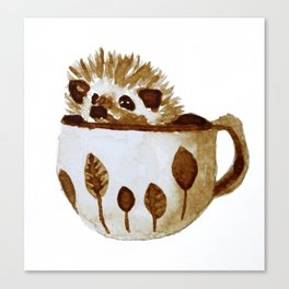 Hedgehog in a Cup Painted with Coffee Canvas Print