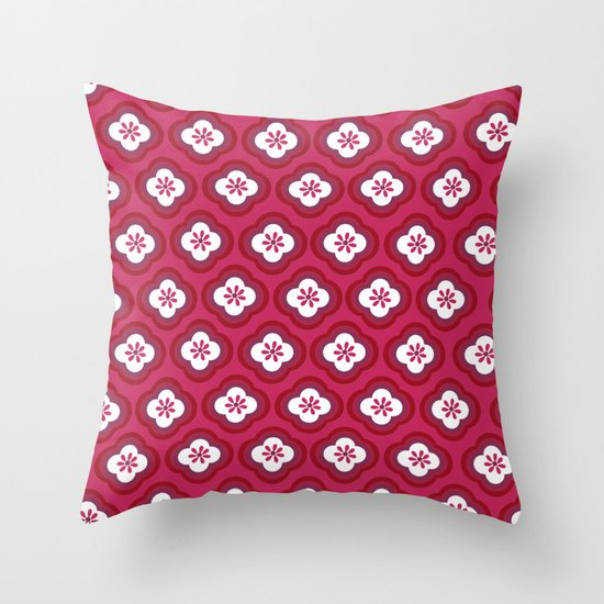 Red Graphic Flower Throw Pillow
