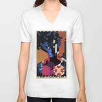 nightcrawler V-neck T-shirts featuring Geometric Nightcrawler by Head Glitch