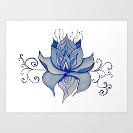 Watercolor Blue Lotus Art Print