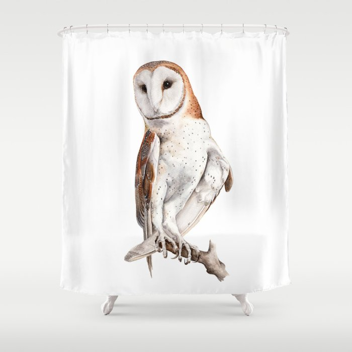 Barn Owl Watercolor Shower Curtain