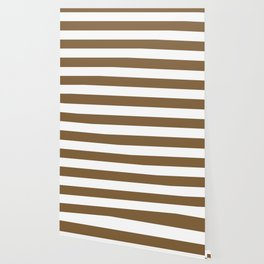 Coyote brown - solid color - white stripes pattern Wallpaper