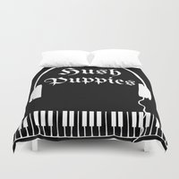 puppies Duvet Covers featuring Hush Puppies by Mike Semler